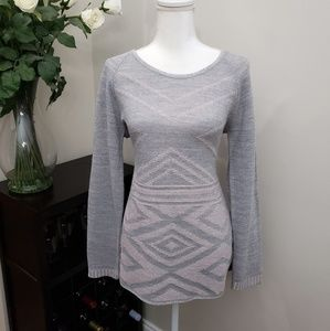 Faded Glory Grey/Pink Crewneck Pullover Sweater